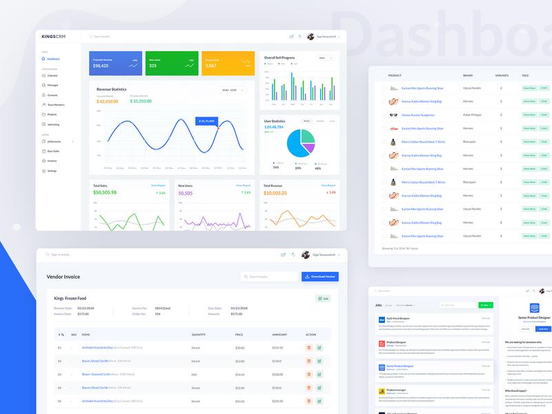 KingsCRM Web Application Home V2 charts revenue sales listing ecommerce uikings admin uiux job list invoice data table analytics dashboard