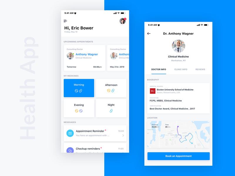 Health Care App uikings medication patient tracker treatment app ui profile health app doctor appointment medicine health