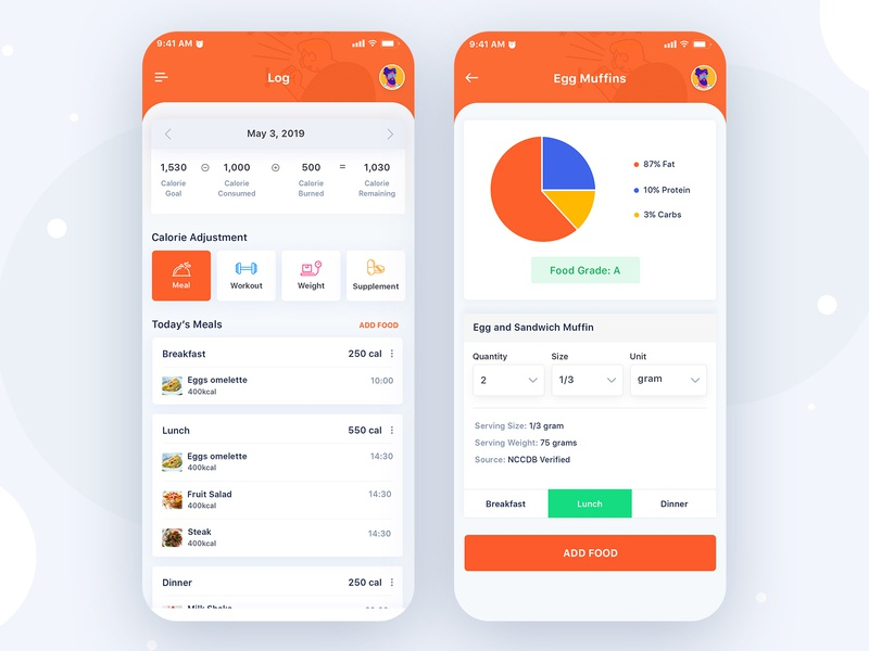 Fitness App Design - Log Screen minimal ui add food meal calorie food gym fitness app