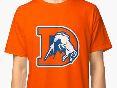 The Denver D bucking orange mountains bronco horse d football denver broncos