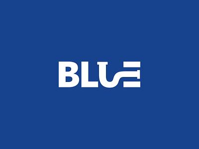 Blue Plumbing - Logo pipe creative negative space typography plumber plumbing logo