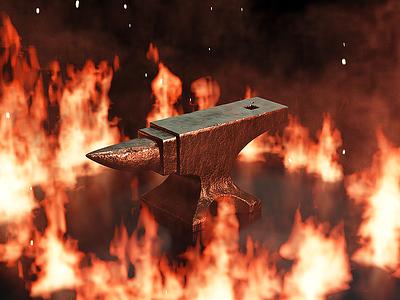 Fire Anvil grunge smoke flames texture embers ring fire 3d modeling blender anvil