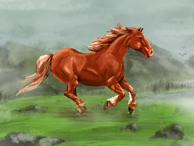Horse drawing sketch illustration mountains horse