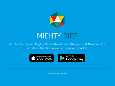 Mighty Dice - Landing dd app dice landing page landing mighty dice