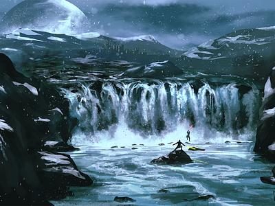Jedi Duel illustration waterfall river star wars lightsaber jedi