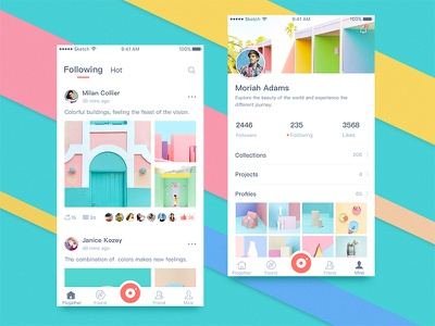 Picgather App02 ux share social ui flat picture app