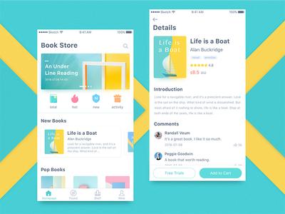 Book Store bookstore flat ux online read ui app