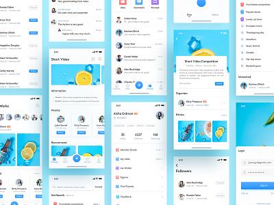Short Video3 ux design colorful interface short video socail ui app flat