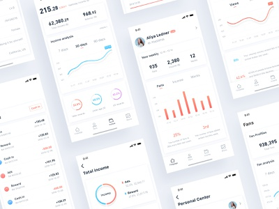 Stats App White flat app ux analysis data ui