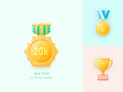 20K Followers Badge trophy logo medal icon badge