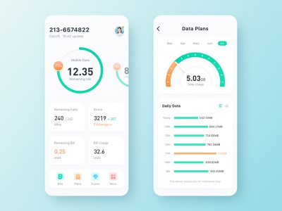 Mobile Data ux design ui colorful mobile data 5g app flat