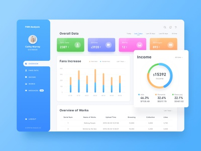 Fan Analysis01 system back-stage management ux flat ui dashboard data analysis colorful
