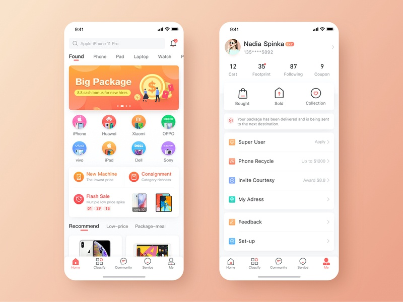 Second-hand E commerce ux ui colorful app