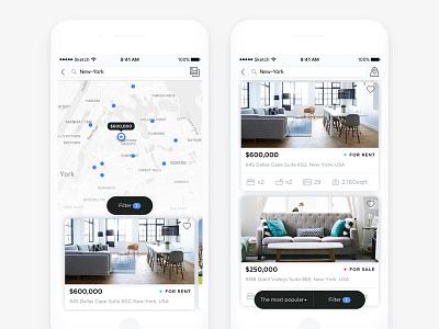 Get flat cadabra ios white ui rent booking interface app navigation search flat apartment