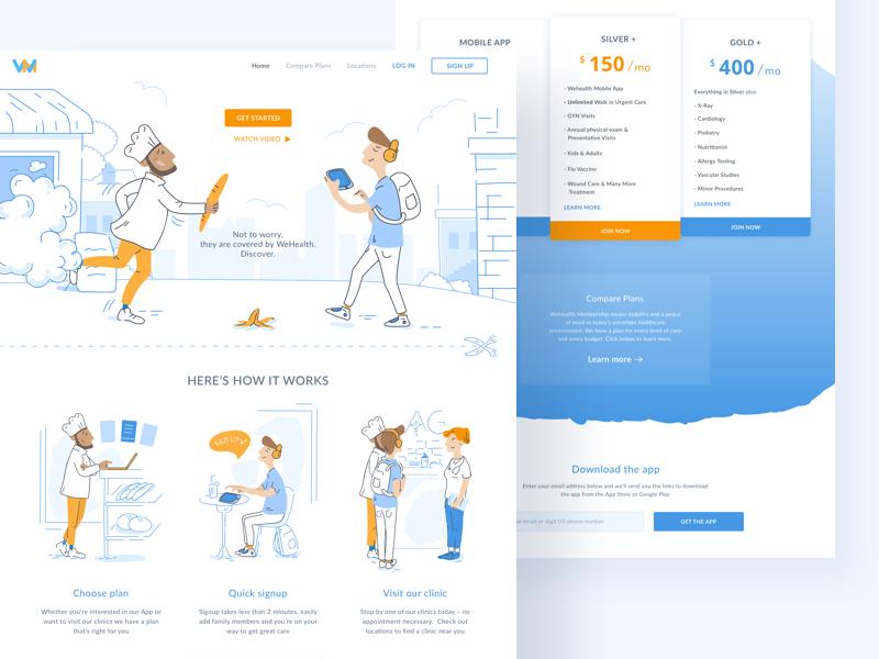 WeHealth cadabra clean minimal landing page light blue header medical health illustration web