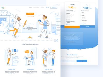 WeHealth product ui cadabra clean minimal landing page light blue header medical health illustration web