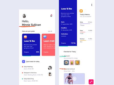 Goals Planner concept colors interface design interface clean app mobile ui ux task schedule planner plan goals
