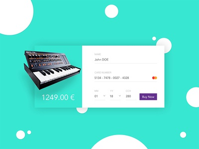#002 - Checkout - Daily UI challenge grenoble france webdesign piano credit card buy eshop checkout cart dailyui ux ui