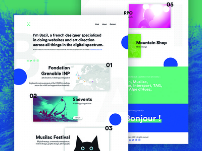 2017 Portfolio landing page french art direction off-canvas cards green blue dual tone branding webdesign portfolio