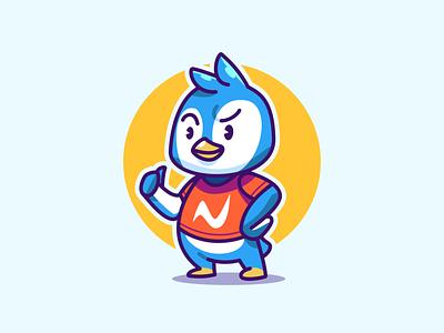 Cute Penguin mascot small young esports freelsnce cool penguin ice tshirt cat happy vector illustration design kids cute animal logo cartoon mascot