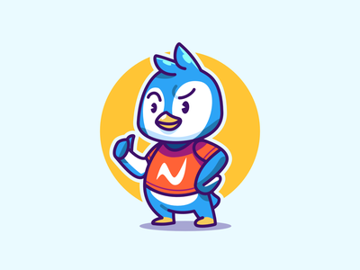 Cute Penguin mascot small young esports freelsnce cool penguin ice tshirt cat happy vector illustration design kids cute animal logo cartoon mascot