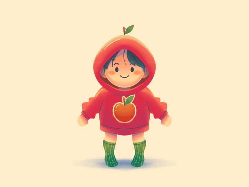 I am an apple love orange kids illustration play funnel happy funny red jacket hoodie mascot avatar cartoon smile apple children cute kids