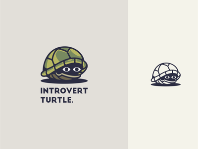 Introvert turtle creative eye shield solid shadow shy fish fun love happy kids cute illustration logo cartoon sea animal mascot turtle introvert