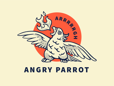 Angry Parrot sale food fire kids branding brand sketch wood old logo cartoon cute mascot mad angry ink vintage animal bird parrot