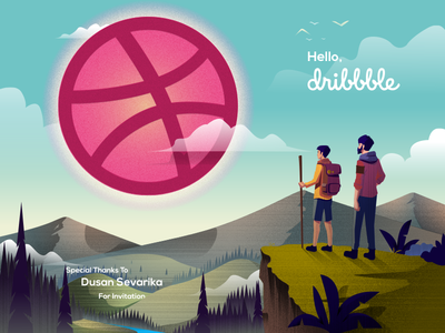 Hello Dribbble! :) beautful sky shot illustration mountain invitation landscape first debut