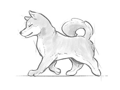 Shiba sketch ipad pencil paper webs friendly animal sketch dog logo beauty walk japan child friend doggo cartoon cute dog illustration mascot dog shibainu