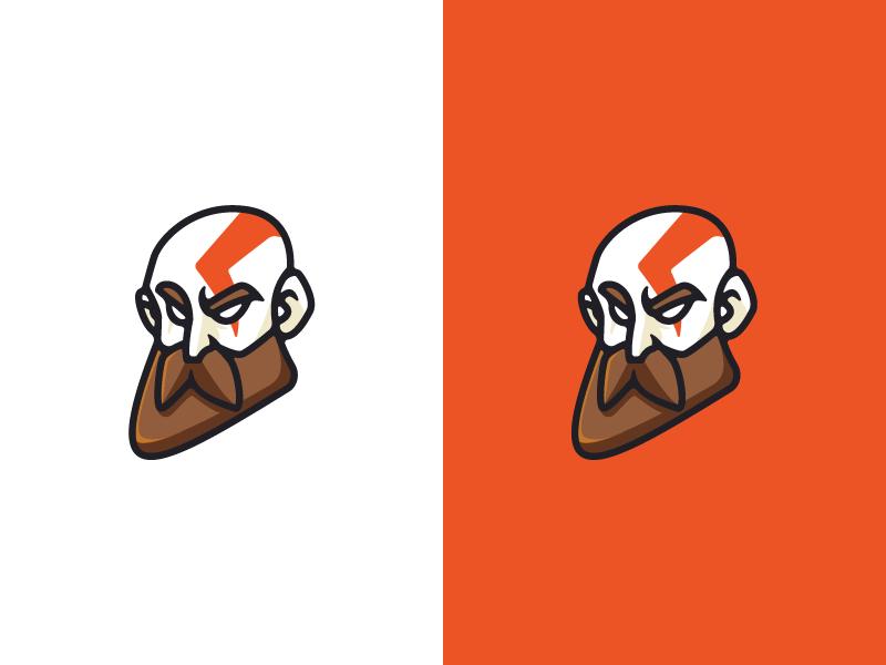 Kratos orange esport sport buff storm angry beardman kids beard face logo mascot stiker icon animation disney cartoon character kratos game