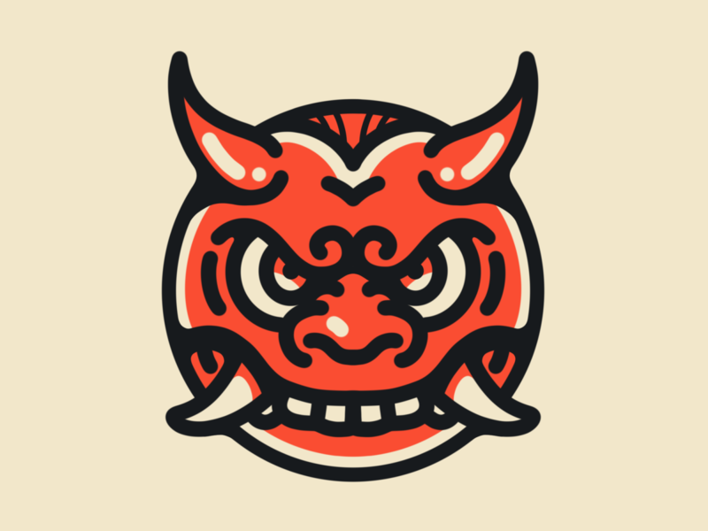 Japanese Oni Face god face angry madness mad demon devils devil tomato red japanese mascot sketch orange fun cute animal kids logo cartoon