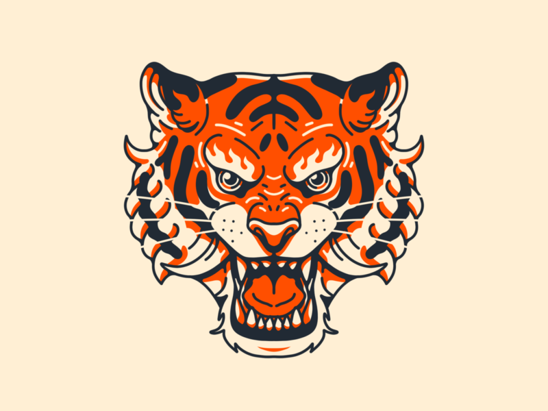 Fire Tiger Head tiger logo dribbble shot trending simple tattoo line eye face panther lion fire tiger orange cute animal logo illustration cartoon mascot