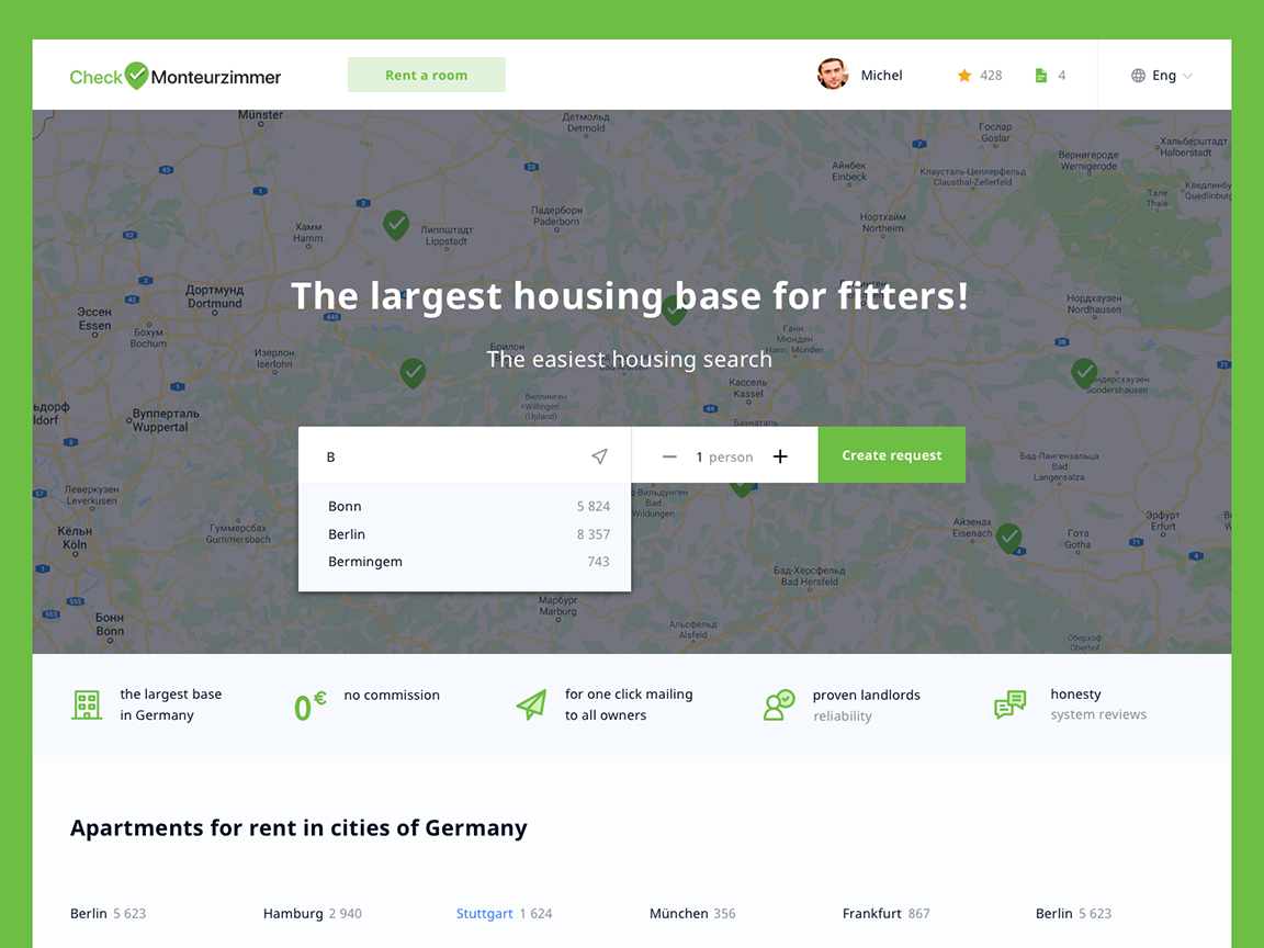 Checkzimmer— search for housing for visitors to work in Germany appartments work in germany checkzimmer ui design ux design