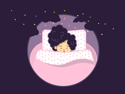 Sleeping Beauty dream circle curly design flat character illustration icon hair pink girl night