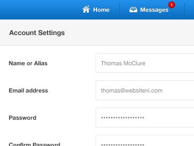 Account Settings ui ux web app interface form nav