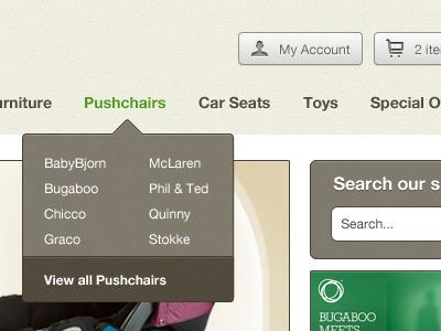Nursery Store Header ecommerce header navigation ui buttons magento