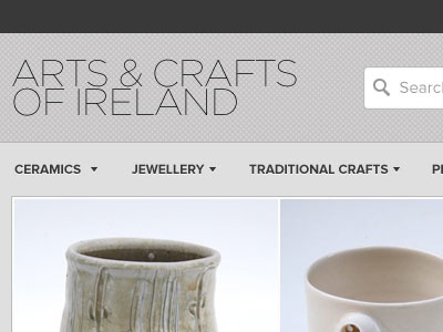 Arts & Crafts of Ireland e-commerce header ui ecommerce store web shop checkout product header navigation search