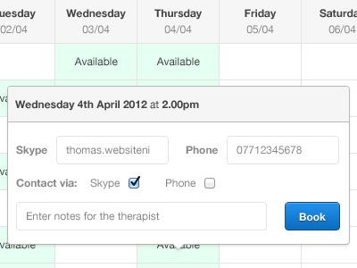 Calendar Booking form (Pop up) calendar booking form modal ui web app interface pop up