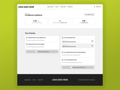 Dashboard Page ux ui opportunity events profile account footer header volunteer dashboard wireframe