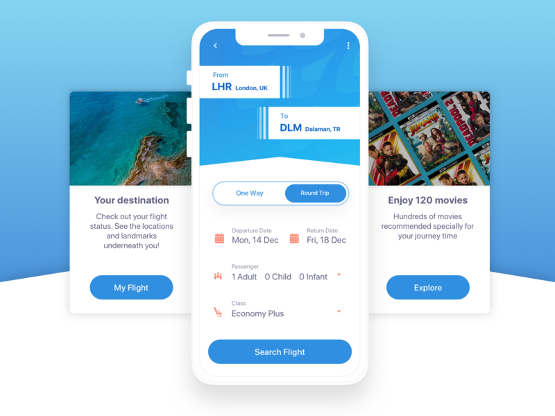 Airline mobile app / in flight components blue sky blue predictive flight details content destination flight in-flight in flight screen movies round trip one way preview mobile app airways airport airlines air airline
