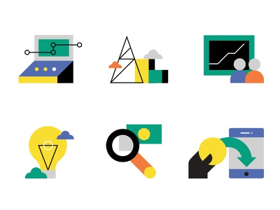 Selected Icons icons futurology economics trends finances management banking
