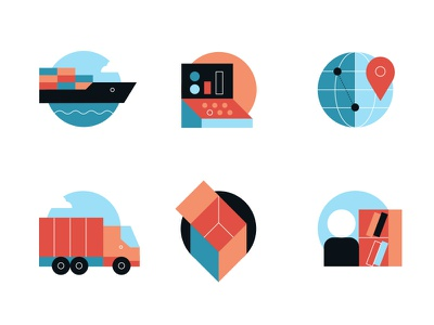Logistic Icons icons ship cargo transport logistic