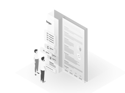 One Pager isometric onepager illustration