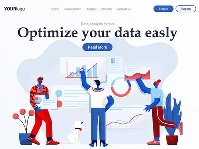 Landing Page design teamwork data business template people landing woman man illustration creative