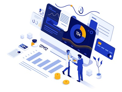Data Analysis flat clean finacial analysis data characters design isometric man illustration creative