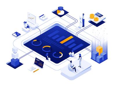 Data Analysis visualization futuristic data analysis business isometric 3d woman man illustration creative