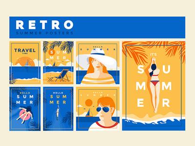 Summer Retro Posters creative logo flat design man woman creative illustration simple retro poster summer