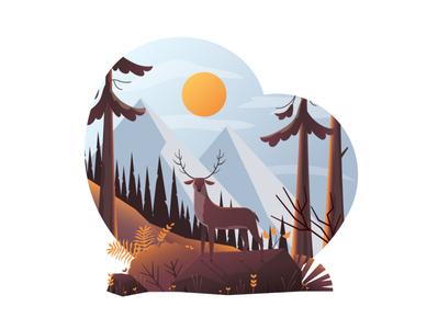 Flat Modern design Illustration of Deer in forest wild autumn summer vector flat design mountain wood landscape forest deer illustration creative