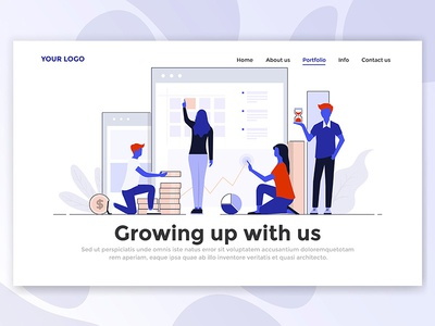 Modern Design Of Landing Page Header business woman man people creative 3d isometric illustration web template page landing
